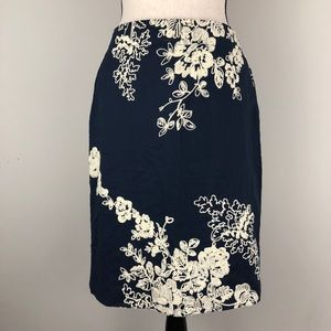 J. Crew The Pencil Skirt Embroidered Floral